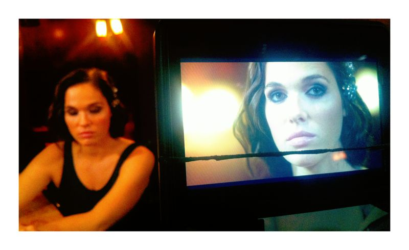 "Verena Altenberger shooting a scene for the C500 short film ""ALEX"". The frame line on the screen indicates the framing for Cinemascope."