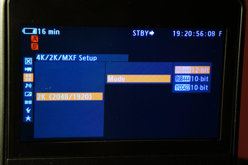 The 2K output options of the C500 - 10bit and 12bit are available.