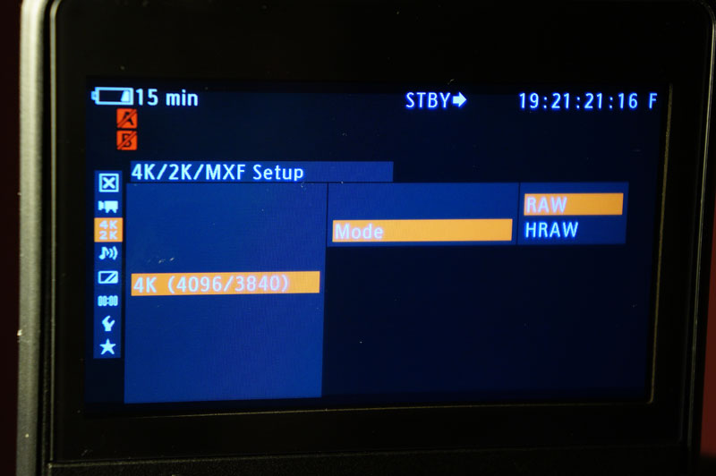"Canon C500 options include 4K ""half raw"" for high frame rate recording. We were not able to test this feature."