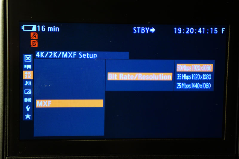 New Canon MXF options in the C500 menu - 35 and 25 MBit/s