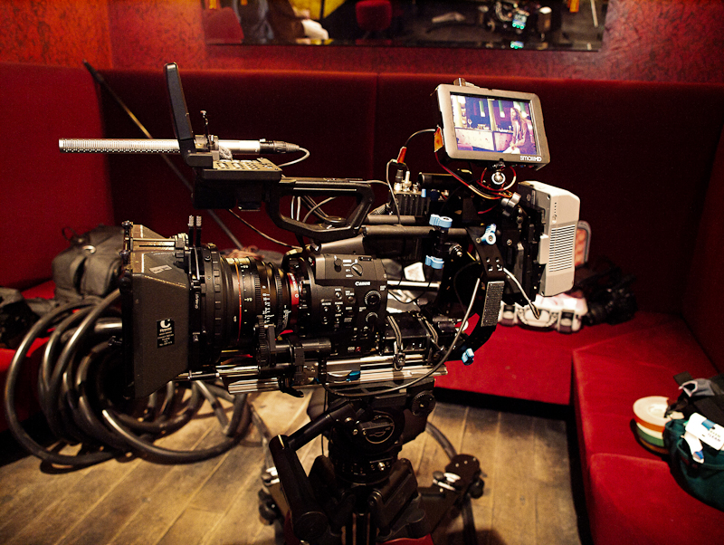 The ber-pimped C500 with one of the Canon Cinema Primes on set of &quot;ALEX&quot;.