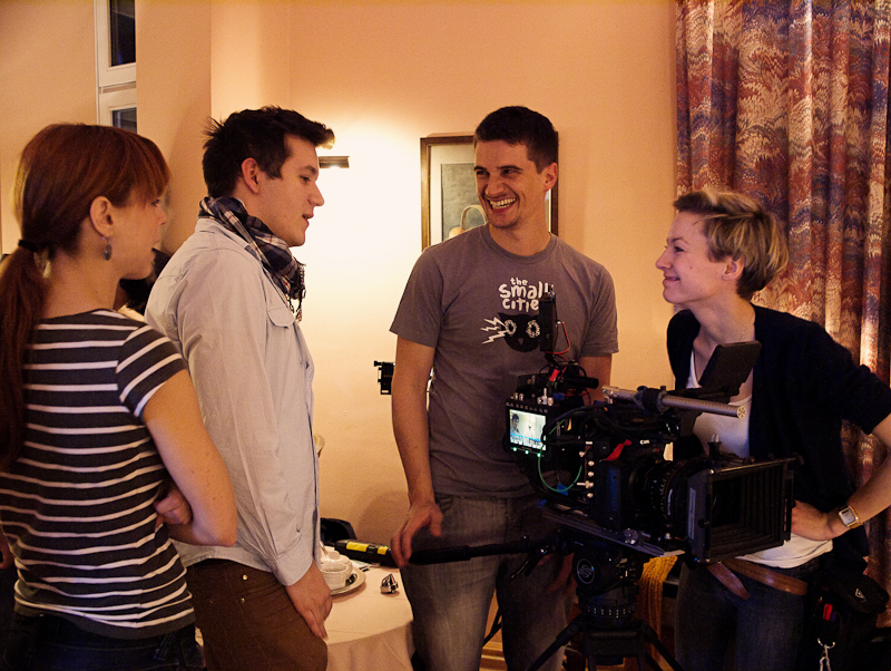 "Katharina Dietl (production coordinator), Tamás Kiss (director), Nino Leitner (Director of Photography) and Laura Ettel (1st AC) on set of the C500 short film ""ALEX"""