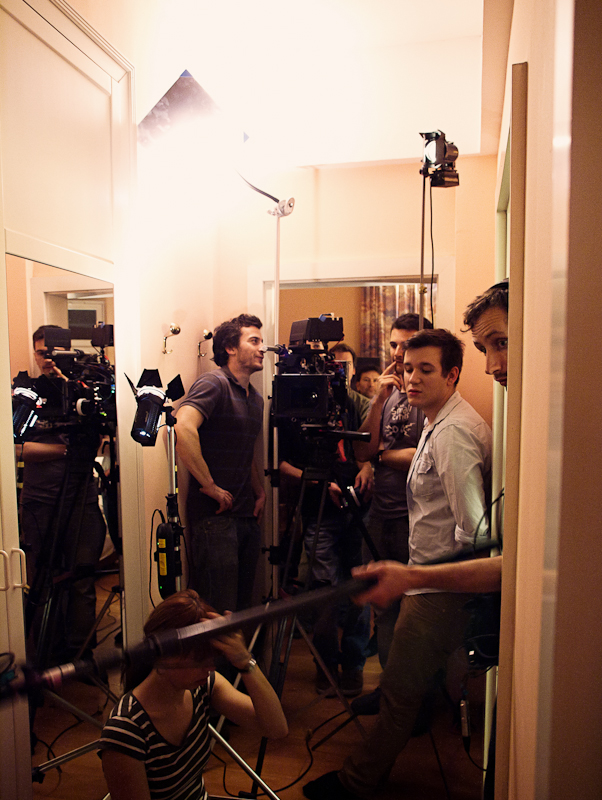 "Shooting the hallway scenes of ""ALEX"", lighting again using only the KFlect system and some Dedolights."