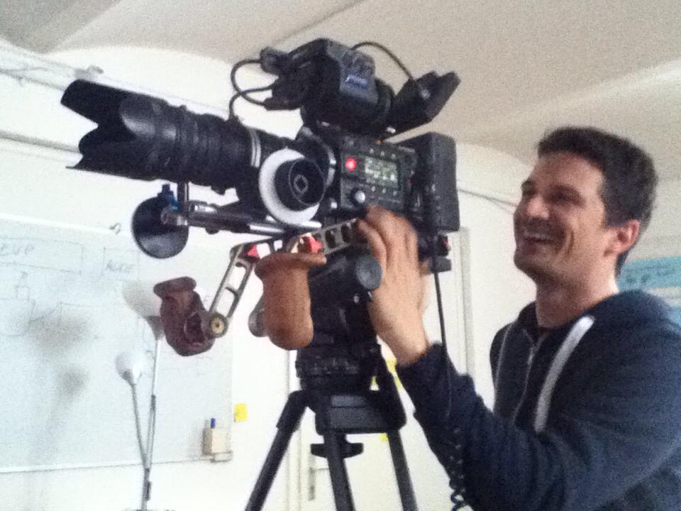 Nino Leitner operating the Sony F55 on a tripod (with the Vocas rig still attached)
