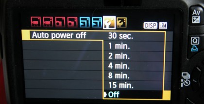 Switching off &quot;Auto power off&quot;