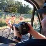 Mick Jones in action, shooting from the van