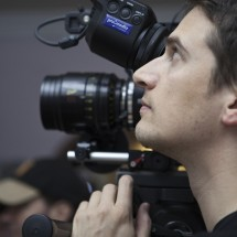 Nino Leitner looking through the OLED EVF of the F55 - full camera package provided by Pro.Media