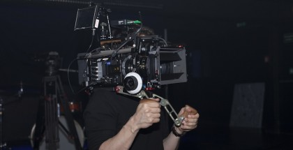 Sony F55 on Nino Leitner's shoulder with the Vocas prototype rig