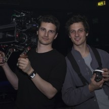 Director of photography Nino Leitner and 1st Assistant Camera Alois Kozar Jr. posing on set
