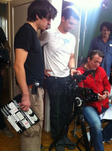 "Nino Leitner shooting with Robert Palfrader for ""Wir Staatskünstler"" (ORF / Gebhardt Productions)"