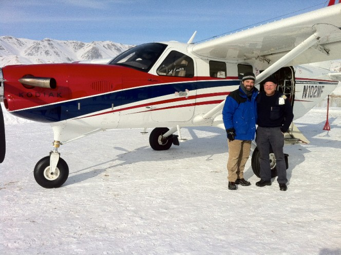 Pascal Depuhl and Chief pilot Daniel in front of Pactec's Kodiak in Lal.