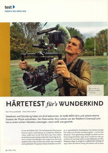 zoom magazin about Nino Leitner's first tests with his MoVi gimbal in Vienna.