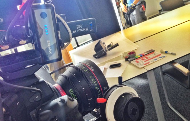 Radian MC wireless video transmitter on top of the camera on a recent corporate shoot.